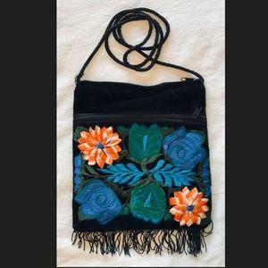 Embroidered Velvet Cross Body Purse